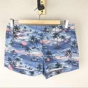 J. Crew Factory Hawaiian Beach Print Shorts
